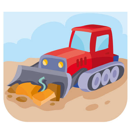 illustration of a cartoon red bulldozer at a construction site rakes up construction debris, vector illustration, eps Vectores