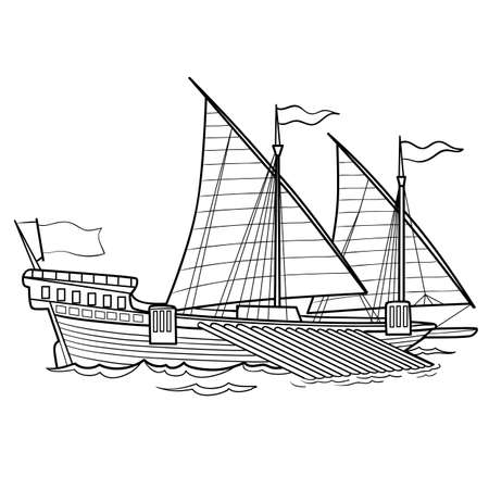 sketch of a retro ship with sails, coloring book, isolated object on white background, vector illustration, eps