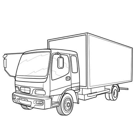sketch of a big truck, coloring book, isolated object on white background, vector illustration, eps  イラスト・ベクター素材