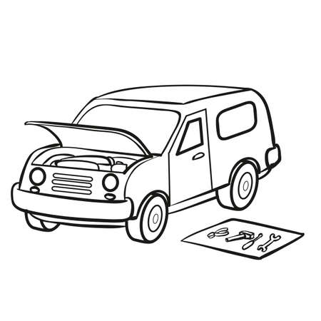 sketch, the car broke down and stands with the hood open, tools lie next to it on the mat, coloring book, cartoon illustration, isolated object on a white background, vector, eps