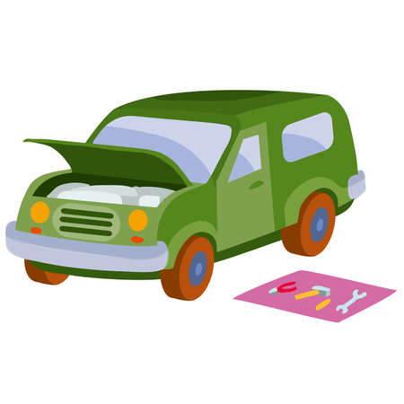the car broke down and stands with the hood open, tools lie next to it on a mat, cartoon illustration, isolated object on a white background, vector, eps Vecteurs