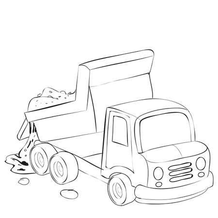 cartoon illustration, sketch dump truck brought sand and pours it out of its body, coloring book, isolated object on white background, vector illustration, eps