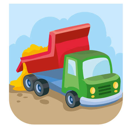cartoon illustration, dump truck brought sand and pours it out of its body, isolated object on white background, vector illustration, eps Stock Illustratie