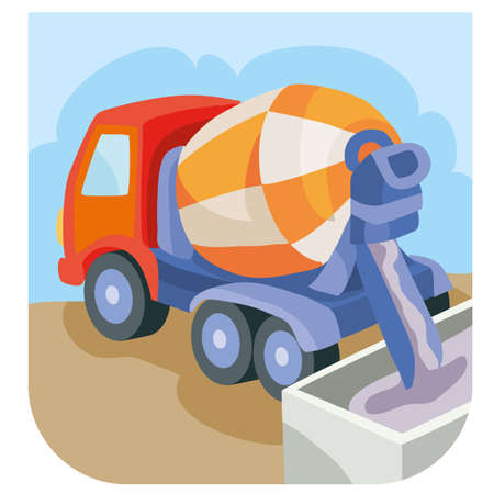concrete mixer pours the concrete that has prepared, cartoon illustration, isolated object on a white background, vector illustration, eps