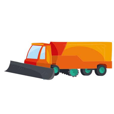 snow blower, cartoon illustration, vector illustration, isolated object on white background, vector illustration