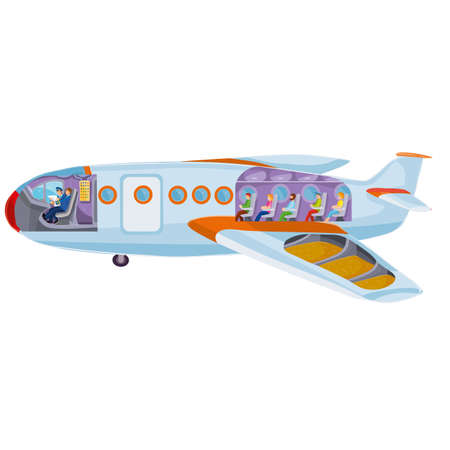 plane inside with passengers, pilots and tanks with kerosene, cartoon illustration, vector illustration, isolated object on a white background, vector illustration 向量圖像