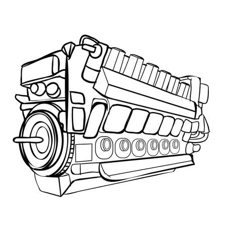 sketch, engine, coloring, isolated object on a white background, vector illustration, eps Stock Illustratie
