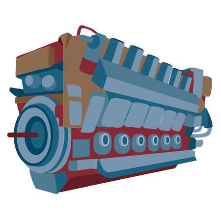 engine, motor, cartoon illustration, isolated object on white background, vector illustration, eps