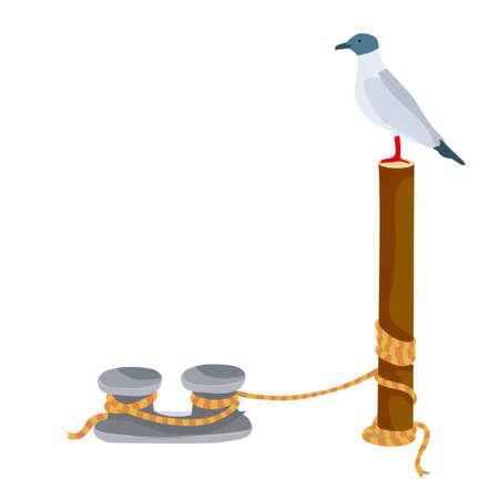 seagull sits on a pillar that stands on a pier, cartoon illustration, isolated object on white background, vector, eps Vektoros illusztráció