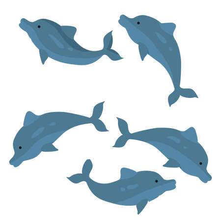 set of dark blue dolphins, cartoon illustration, isolated object on white background, vector, eps 向量圖像
