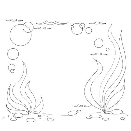 sketch, underwater landscape with seaweed, coloring book, isolated object on white background, cartoon illustration, vector, eps