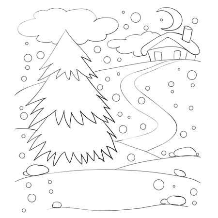 sketch, winter landscape with a tree and a house in the distance, oascoasca, isolated object on a white background, cartoon illustration, vector, eps