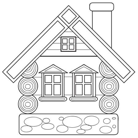 sketch, log house, coloring book, isolated object on white background, cartoon illustration, vector eps 向量圖像