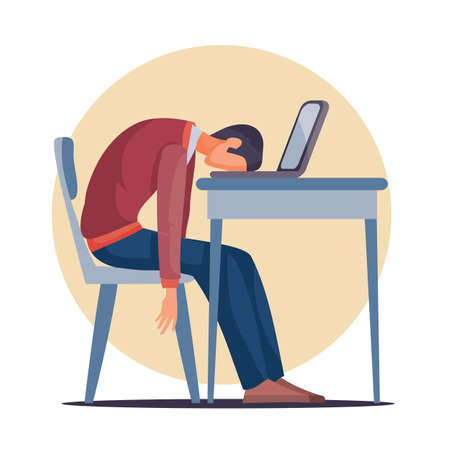 a man sits at a table on which there is a laptop and laid his head exhaustedly on the table, fatigue, depression, impotence, isolated object on a white background, vector illustration, eps 向量圖像