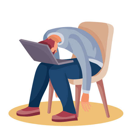 a man sits on a chair and rested his head on a laptop which is on his knees, fatigue, depression, impotence, isolated object on a white background, vector illustration, eps 向量圖像