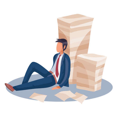 a man sitting tiredly and leaning against a pile of papers behind his back, fatigue, depression, impotence, isolated object on a white background, vector illustration, eps 向量圖像