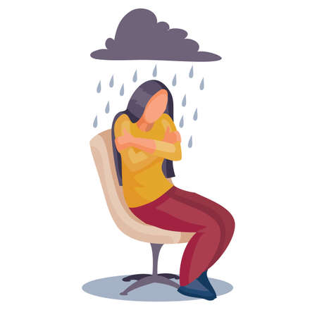 woman sits on a chair and hugs herself by the shoulders, above her is a gray cloud from which the rain is pouring, fatigue, depression, powerlessness, isolated object on a white background, vector illustration, eps 向量圖像