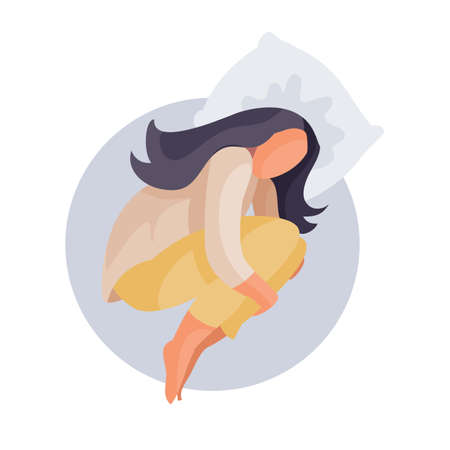 woman curled up in a ball and lies on a pillow, fatigue, depression, impotence, isolated object on a white background, vector illustration, eps 向量圖像