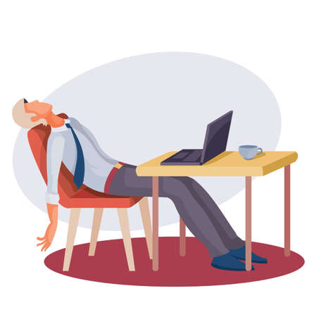 a man sits at a table on which there is a laptop and leaned back exhaustedly in his chair, fatigue, depression, impotence, isolated object on a white background, vector illustration, eps