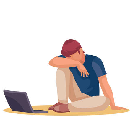 a man sits tiredly on the floor and bowed his head on his knees, next to him is a laptop, fatigue, depression, impotence, isolated object on a white background, vector illustration, eps 向量圖像