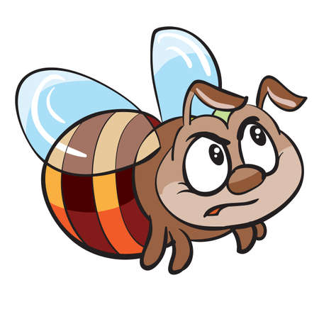 cute angry bee character, cartoon illustration, isolated object on white background, vector, eps Ilustração
