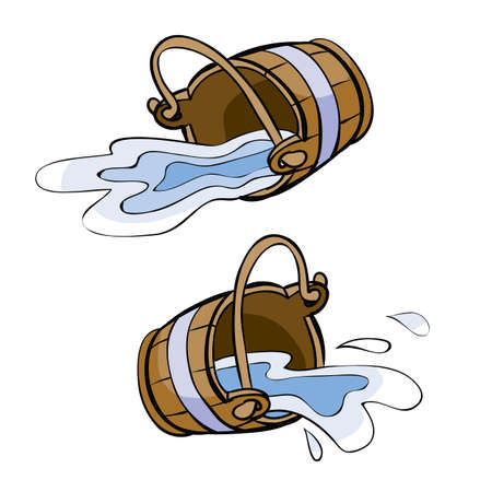 set of two wooden buckets that fell and splashed out of them water, cartoon illustration, isolated object on white background, vector, eps