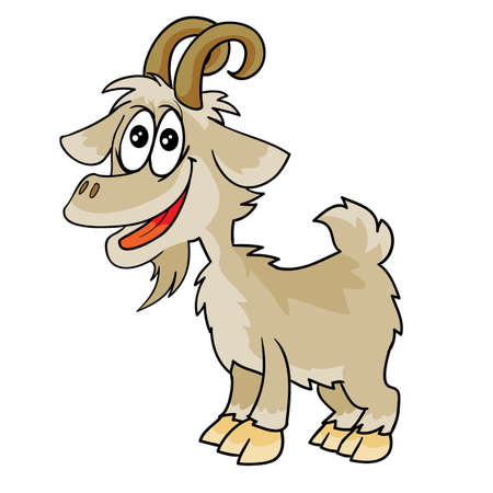 jolly goat character, cartoon illustration, isolated object on white background, vector, eps Stock fotó - 157814686