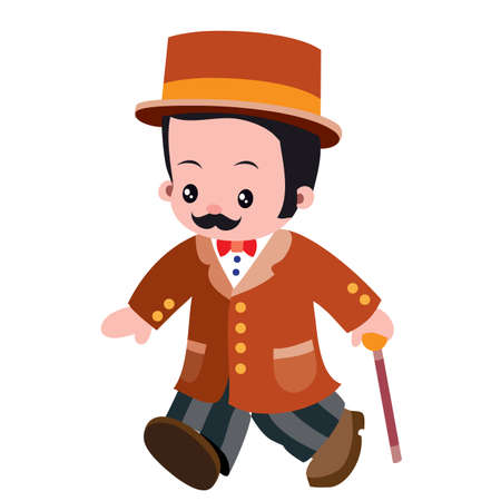 gentleman in bowler hat and walking stick, cartoon illustration, isolated object on white background, vector, eps