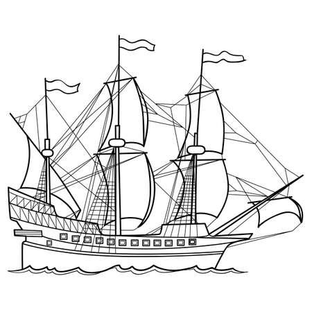 Sailing ship illustration background.
