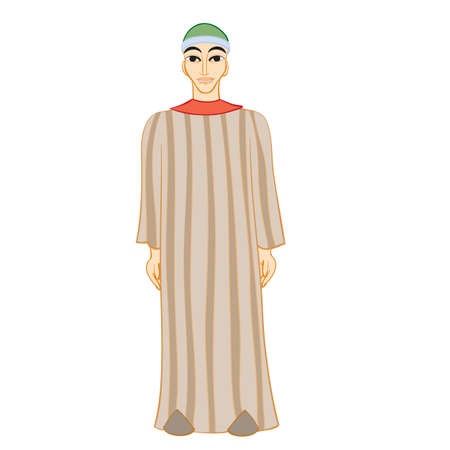 bedouin man in long striped robe, isolated object on white background, cartoon illustration, vector, Vettoriali