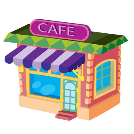 cafe house in red with purple signboard, cartoon illustration, isolated object on white background, vector