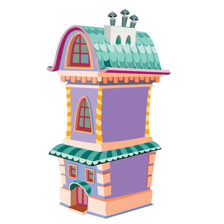 cute purple two-story house with three chimneys, cartoon illustration, isolated object on white background, vector