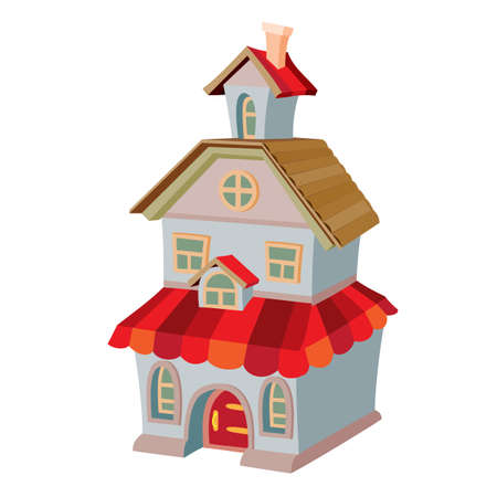 two storey house with attic and red roof, cartoon illustration, isolated object on white background, vector