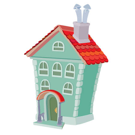 two storey house with an attic and with pipes, cartoon illustration, isolated object on white background, vector