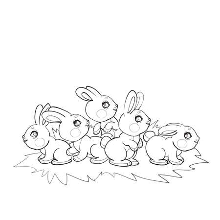 sketch of cute hares in one glade, coloring book, cartoon illustration, isolated object on white background, vector, eps 矢量图像