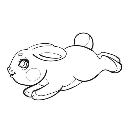 sketch of a cute character of a hare jumping somewhere, coloring book, cartoon illustration, isolated object on a white background, vector, eps 일러스트