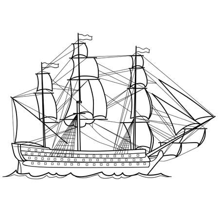 sketch of an old sailing ship, coloring book, and decoration cartoon, isolated object on a white background, vector