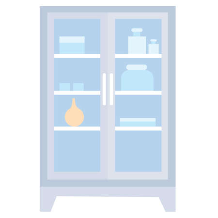 medicine cabinet with transparent doors in blue color in flat style, cartoon illustration, isolated object on white background Çizim
