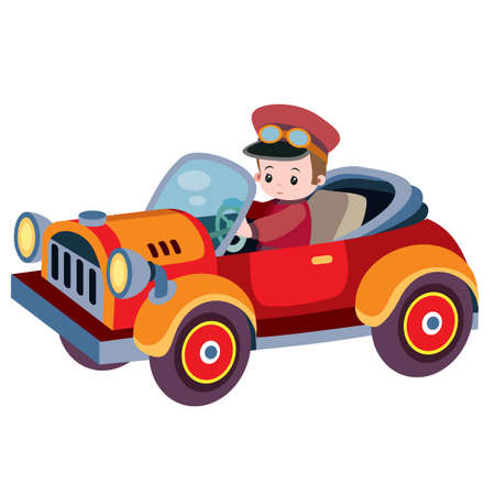 retro car with no roof with driver, cartoon illustration, isolated object on white background Ilustracja