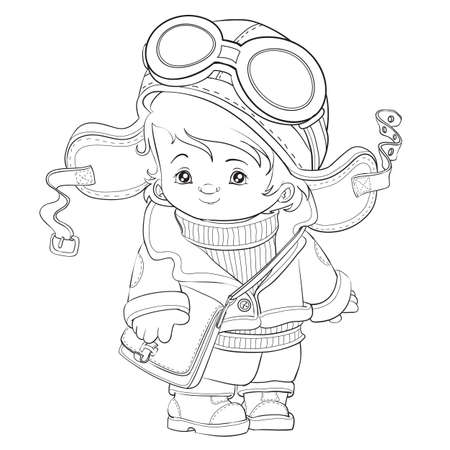 outline of a cute pilot, coloring book, cartoon illustration, isolated object on white background Vettoriali