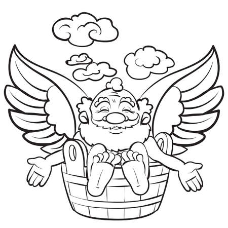 man sitting in a wooden basin and enjoying a bath, coloring book, cartoon illustration, isolated object on white background