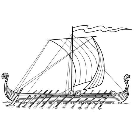 sketch of an old boat with oars, coloring, isolated object on white background, vector illustration