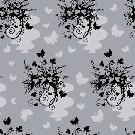 black and white pattern with stylized black patterns in gray, emotions, vector illustration, eps