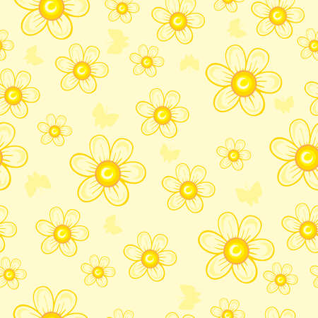 pattern of simple flowers in yellow shades, cartoon illustration, vector