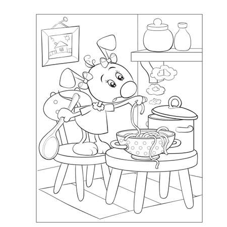 coloring book, dog character cooking soup in the kitchen, isolated object on white background, vector illustration, cartoon illustration, eps