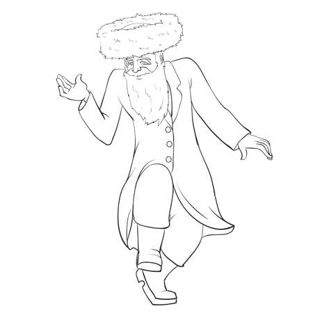 sketch, a Jew in a Hasidic hat dances cheerfully and rejoices, coloring book, isolated object on a white background, vector illustration Vektorové ilustrace