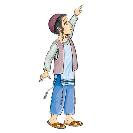 jewish boy in a kippah with dogs and tzitzit brushes pulls his hand up, isolated object on a white background, vector illustration