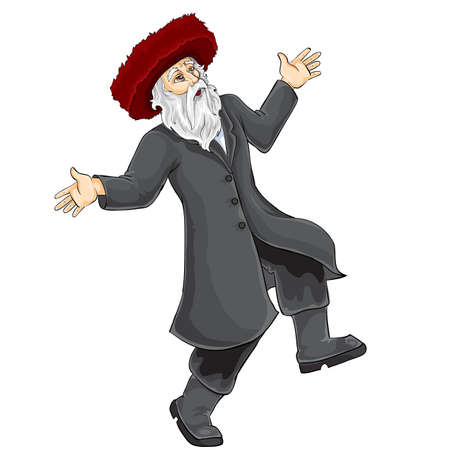 jew in hasidic hat dancing and rejoicing at something, isolated object on white background, vector illustration Vector Illustration