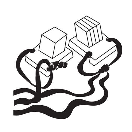 sketch, two boxes of tefillin, coloring, isolated object on white background, vector illustration,