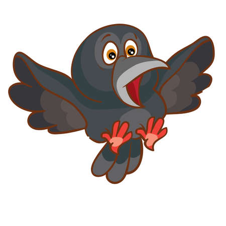 frightened black crow flaps its wings, cartoon illustration, isolated object on white background, vector, eps